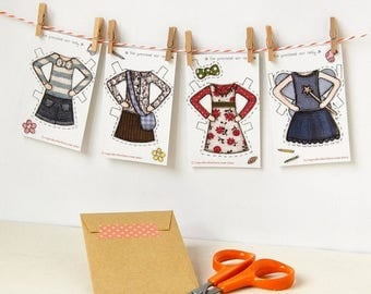 SALE Clara Paper Doll Clothes, Dress-up Clothes - Single Outfit Cards, Set A