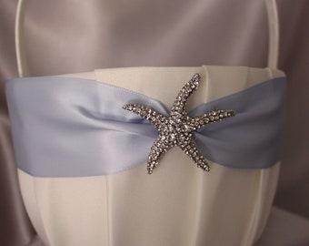 Large-White/Ivory Flower Girl Basket-Dusty Blue (Bluebell)-Large Rhinestone Starfish Embellishment-Custom Ribbon Colors-Girls Age 8+ years