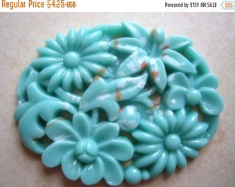 SALE 15% off vintage Japanese cab (1) large  1940s turquoise glass pierced carved stone