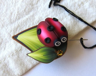 Ladybug Needle Minder with a Ladybug Magnetic Sewing Needle Keeper Cross Stitch Notions