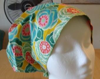 Cactus Flower Hattie Style...................Surgical Scrub Hat...Chemo Hat...Chefs Hat