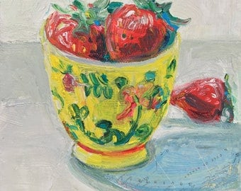 Strawberries in Late Afternoon original acrylic mixed media still life painting by Polly Jones