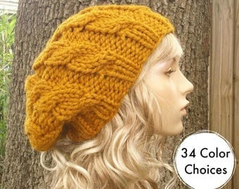 Knit Hat Womens Hat Slouchy Beanie - Mustard Cable Beret Hat in Mustard Yellow Knit Hat - Mustard Hat Mustard Beret - 34 Color Choices