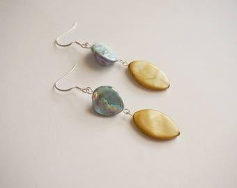Statement Earrings Mustard Earrings Aqua Earrings Mother Of Pearl Earrings Bridesmaid Gift Bridesmaid Jewelry Boho Jewelry Mustard Jewelry
