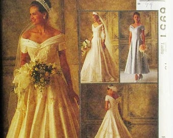 ON SALE 1990s Sewing Pattern McCalls 6915 Misses Bridal Gowns & Bridesmaids Dress Pattern Wedding Dress Size 10 Uncut