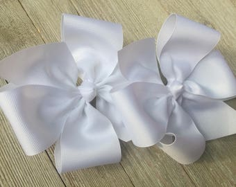 ExLarge White Hair Bows,6 Inches Wide,French Barrettes,Pigtail Hair Bows,Girls Hair Bows,Birthday Party Favors