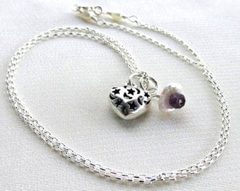 Amethyst Keshi Pearl Moon & Stars Heart Necklace, Sterling Silver February Birthstone Holiday Gift for Her