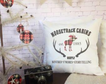 plaid cabin christmas throw pillow/ red black plaid/ farmhouse decor/ moostrack cabins pillow/ lodgedecor