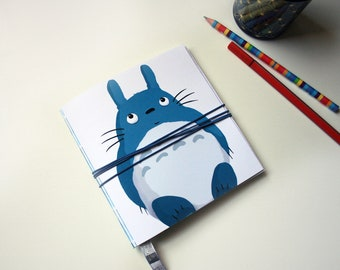 Totoro -  Square illustrated notebook with ribbon