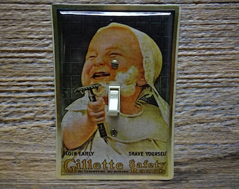 Antique Gillette Razors Shaving Tin Bathroom Bath Art Sign Decor Light Switchplate Switch Plate Made From