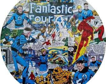 Fantastic Four - Decoupaged Comic Collage on Vinyl Record