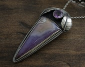 Amethyst Necklace. Gemstone Pendant. Silver Purple Necklace. Amethyst Cabochon Pendant. Faceted Amethyst Gemstone.