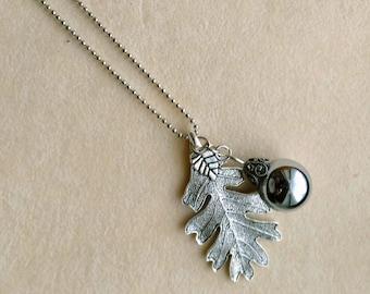 Unique Silver Acorn Pendant, 13 mm silver color Acorn, Silver plated Large Oak Leaf charm - Pretty Acorn Necklace by enchantedbeads on Etsy