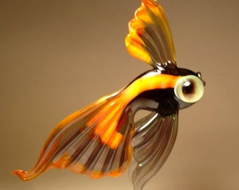 Handmade Blown Glass Art Figurine Purple Hanging Telescope Fish Ornament