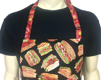Sandwich Apron for men / Deli Chef Apron with Sandwiches / Adjustable with Pocket / Professional Chef style apron / Deli Apron for men /