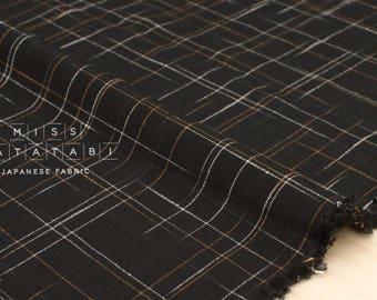 Japanese Fabric Woven Kasuri Rayon - black - 50cm
