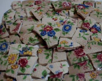 Chintz- Mosaic Tile Pieces - Chintz Flowers- Dark Pink Flowers-Blue Flowers- Yellow-Green - White Chintz Mosaic Tiles -Tesserae Pieces