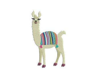 Whimsical Llama Alpaca Machine Embroidery File design 5x7 inch hoop