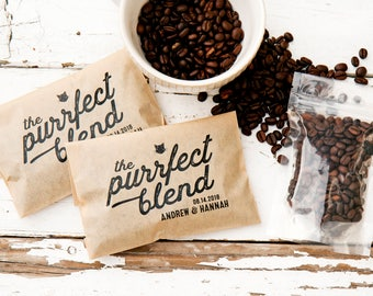 Cat lovers, Coffee lovers, Purrfect Blend Coffee Favors  - Wedding or Engagement Gifts - 20 Grease Resistant Bags
