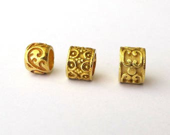 3 pcs Bali Vermeil Gold Large Hole Beads B159VMix