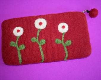red WOOL purse