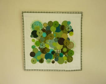 Green Profusion, Small Textile Wall Hanging, Raw Edge Appliqué, Embroidery, Hand Stitch, Fiber Art
