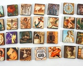 Vintage Inspired Wooden Craft Tiles - 28 Piece with Eclectic Imagery