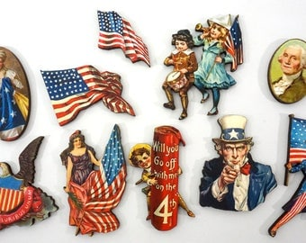 4th of July Craft Pieces  - Collection of 10 Wooden USA Patriotic Embellishments