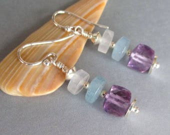 Rainbow Moonstone Aquamarine and Amethyst Sterling Silver Earrings