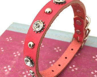 Hot Pink Leather Dog Collar with Rhinestones, Studs and Industrial Flowers, Size S, to fit a 10-13 Neck, Small Dog, Seattle Handmade