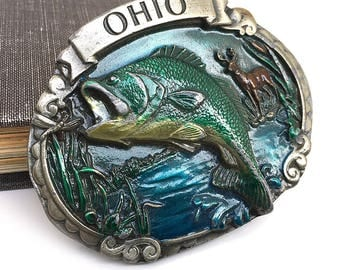 Vintage OHIO Belt Buckle 1986, Fish Buckle Belt, Greenbelts Reclaimed, State of Ohio, Fisherman Gift, Made in USA
