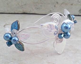 ON SALE Blue Fairy Bracelet Wrist Corsage Arm Band Bridal Body Jewelry