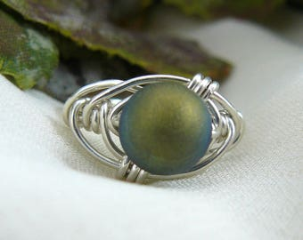 Green Ring ~ Green Stone Ring ~ Wire Wrapped Ring ~ Silver Wire Ring ~ Silver Bead Ring ~ Bead Ring ~ Titanium Ring ~Green Bead Ring ~ 6 1/2