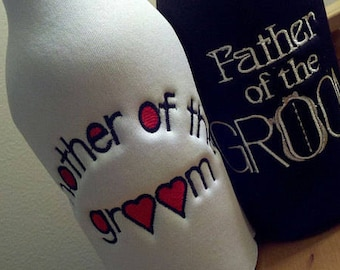 CHOOSE ONE - Father or Mother of the Groom embroidered Long Neck Bottle insulator