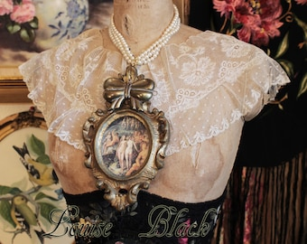 Gilded Age Baroque Cameo Pearl Necklace by Louise Black