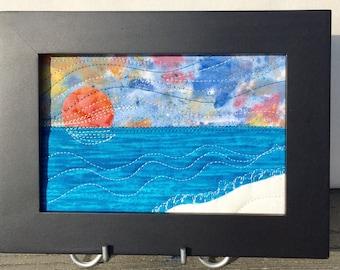 Beach Sunset Greeting Card - Travel Keepsake - Landscape Art - Beach Landscape - Art Quilt - Gift for Her - Fiber Art - Fabric Postcard
