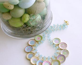 Seafoam Chalcedony Miniature Plates Charm Necklace - China Doll Whimsical Cottage Necklace