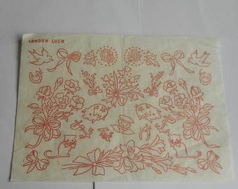 Sheet of Vintage embroidery transfers  entitled  'London Luck'
