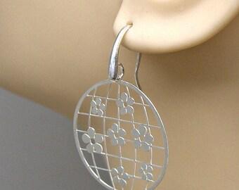 SALE Earrings Flower World Sterling Silver Laser Cut Ear Wires no. 3551