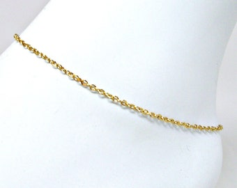 Anklet Gold Plated Cable Chain Ankle Bracelet 9 or 10 Inches