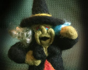Halloween Witch, Spell Casting Witch, Wicked Witch, Housewarming Gift, Decoration, Handmade Figurine, Wool Witch, Felt Witch, Decor, Party