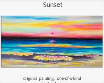 Original abstract painting Sea art Sunset Beach Wave on gallery wrap canvas oil painting home art by tim Lam 48x24
