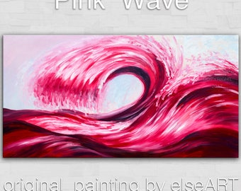 Sale  Original abstract sea art Rolling Wave large landscape painting on gallery wrap canvas Ready to hang by tim Lam 48x24