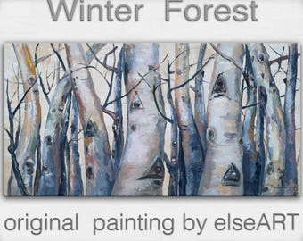 Original art Abstract Painting large Oil Painting, aspen tree art winter Landscape Painting by tim lam 48x24x1.4