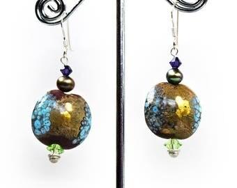 Lampwork Earrings - Bohemian Jewelry - Boho Earrings - Boho Jewelry - Silver Earrings - forest girl jewelry - Yoga Earrings - mori girl