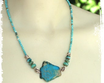 Aqua Terra Jasper Slab Necklace Sterling Silver, Turquoise Necklace Gift for Her, Boho Short Necklace, Southwestern Stone Necklace Statement