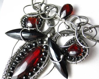SUMMER SALE The Red Queen Necklace - Garnet, Black Spinel and Silver