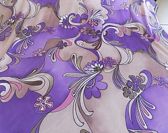 Vintage Purple and Lilac Polyester MOD Floral Fabric
