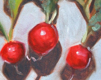 Radish Still Life Oil Painting, Original Small Vegetable Painting, Red, Green, Gray Kitchen Wall Decor, 6x6 Canvas, Square Format, Food