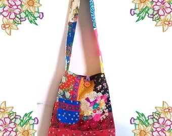 BIG Funky Bright Bag. Cross Body Bag. Bright Clashing Colours. Wide Strap Lots of Detail Pockets and Applique